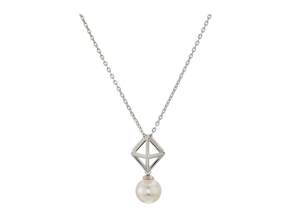 Majorica - 8mm Round Pearl and Pyramid Stud Accent on Sterling Silver Chain Necklace 16-18 (White) Necklace