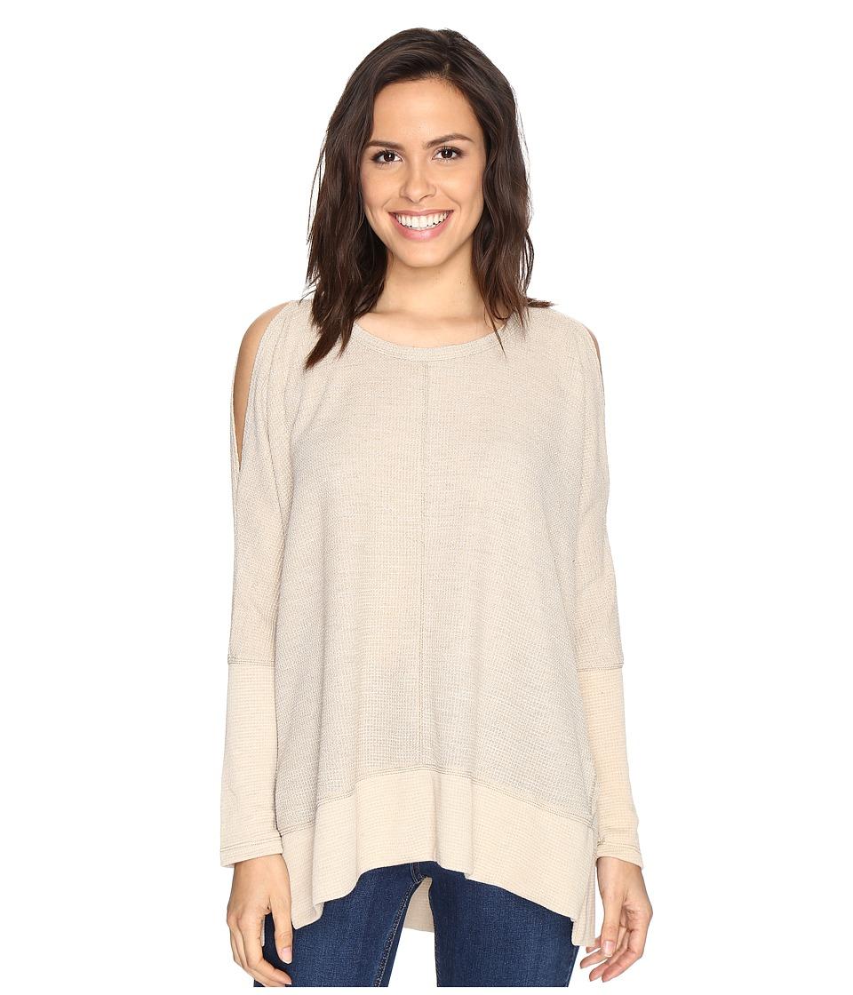 Culture Phit Elise Long Sleeve Top with Open Shoulder Beige Dress