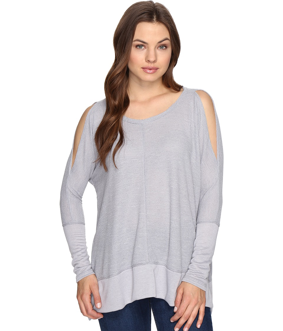 Culture Phit Elise Long Sleeve Top with Open Shoulder (Silver) Women