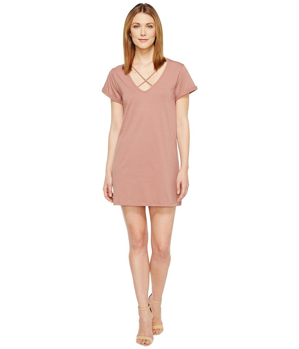 Culture Phit - Keelie Short Sleeve Dress with Strap Detail (Mauve) Women's Dress