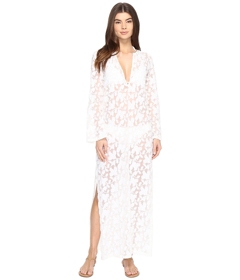 Nicole Miller La Plage By Nicole Miller Long Sleeve Caviar Embroidery Cover-Up (Ivory) Women
