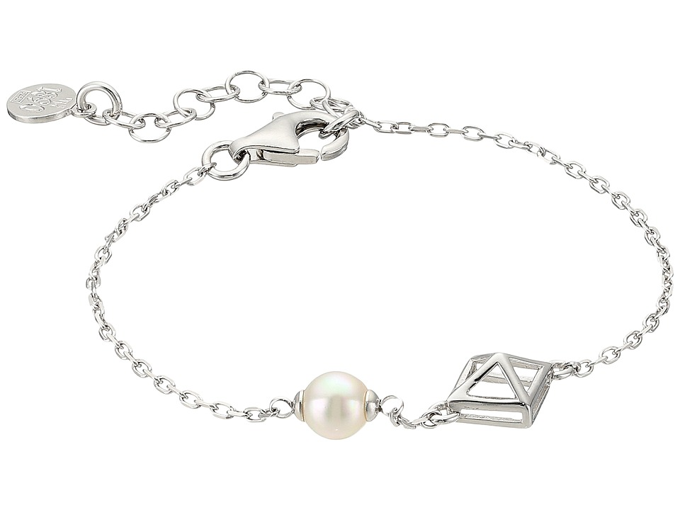 Majorica - 6mm Round Pearl and Pyramid Stud Accent on Streling Silver Chain Bracelet (White) Bracelet