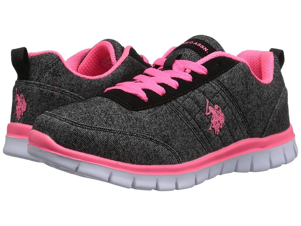 U.S. POLO ASSN. Cece (Black Heather Jersey/Hot Pink) Women