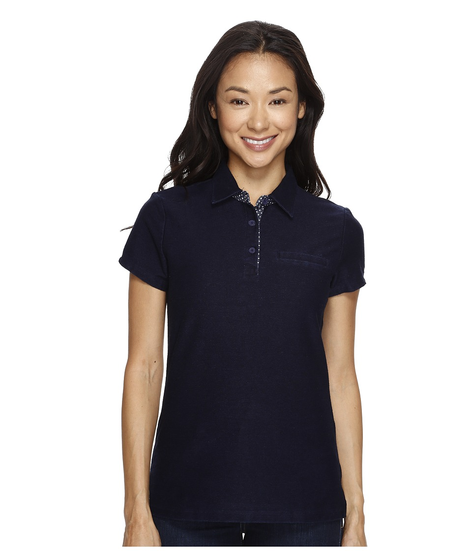 U.S. POLO ASSN. - Knit Twill Piping Trim Polo Shirt (Washed Indigo) Women's Clothing