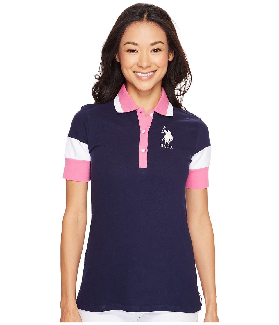 U.S. POLO ASSN. - Stretch Pique Polo (Tribal Navy) Women's Clothing