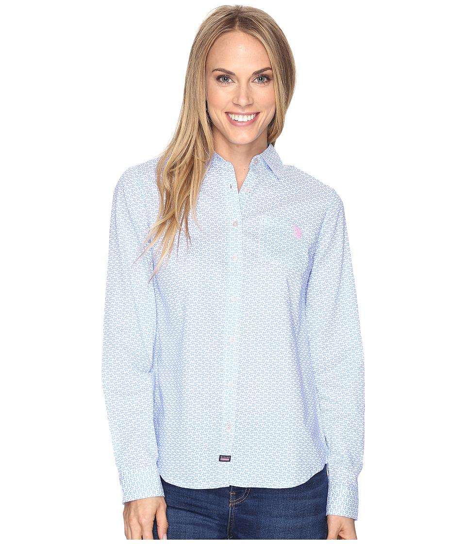 U.S. POLO ASSN. - Flower Print Poplin Long Sleeve Shirt (Delphinium) Women's Clothing