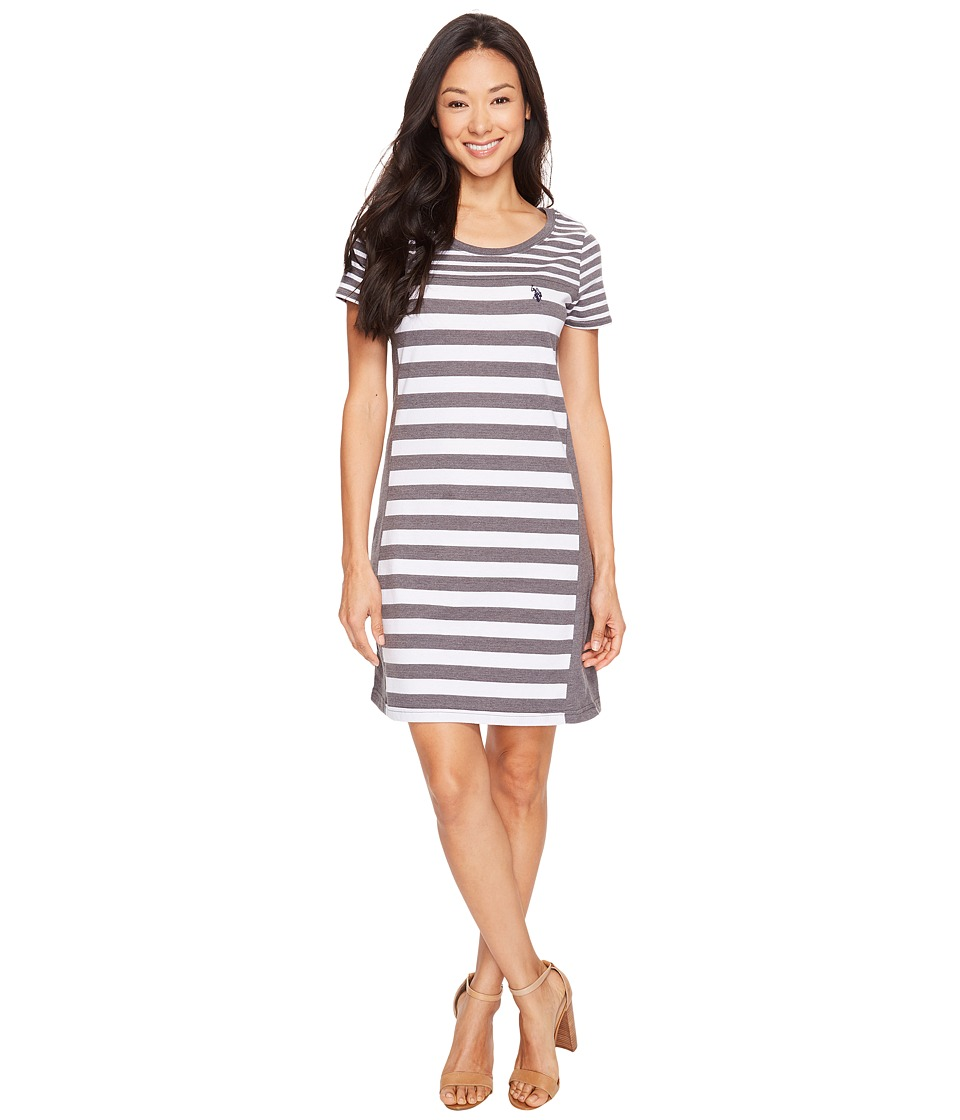 U.S. POLO ASSN. - Short Sleeve Multi-Striped Dress (Dark Heather Grey) Women's Dress