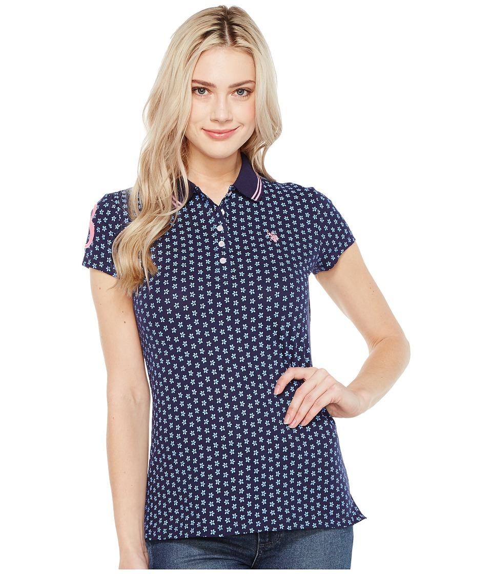 U.S. POLO ASSN. - Print Pique Polo Shirt (Tribal Navy) Women's Clothing