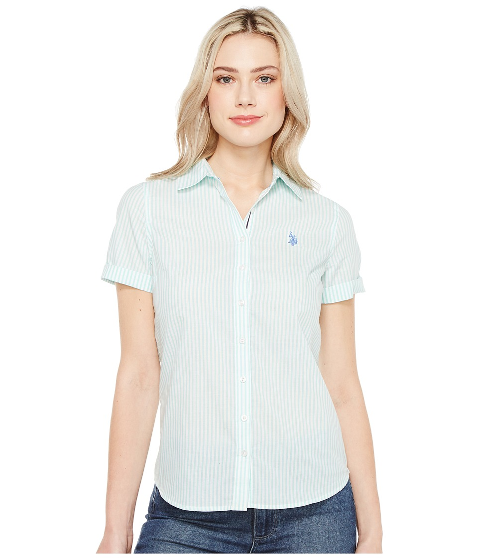 U.S. POLO ASSN. - Short Sleeve Woven Shirt (Palawan Aqua) Women's Clothing