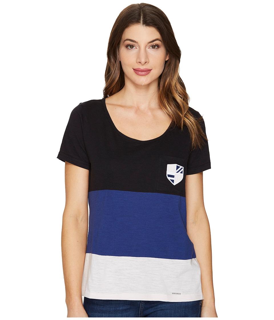 U.S. POLO ASSN. - Striped Pocket T-Shirt (Black) Women's T Shirt