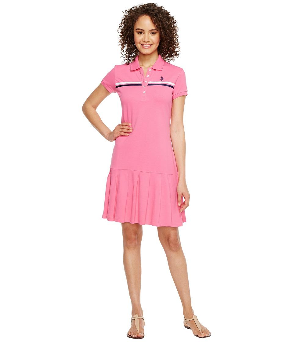 U.S. POLO ASSN. Sporty Pleated Polo Dress (Hibiscus Blossom) Women