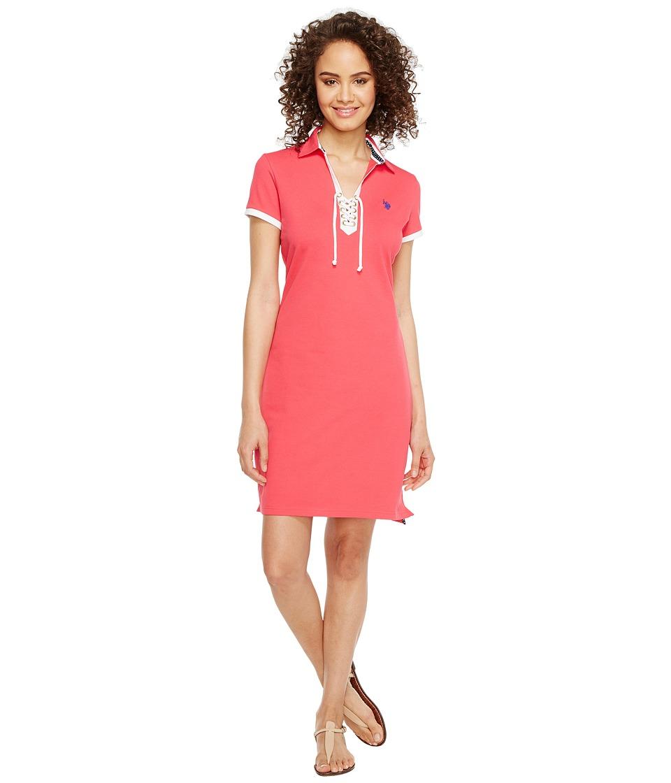 U.S. POLO ASSN. - Lace-Up Pique Polo Dress (Cereza) Women's Dress