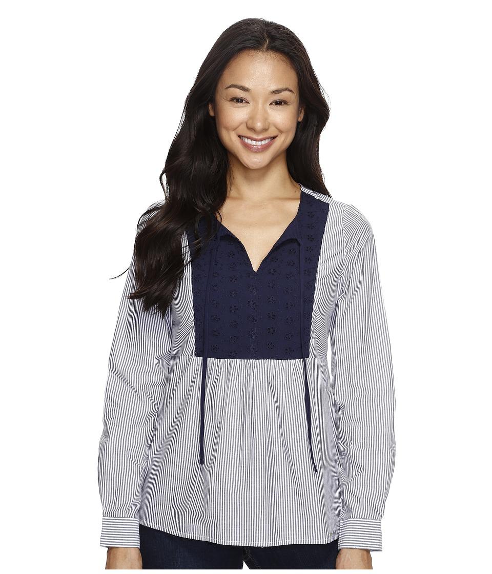 U.S. POLO ASSN. - Long Sleeve Poplin Babydoll Top (Peacoat) Women's Clothing