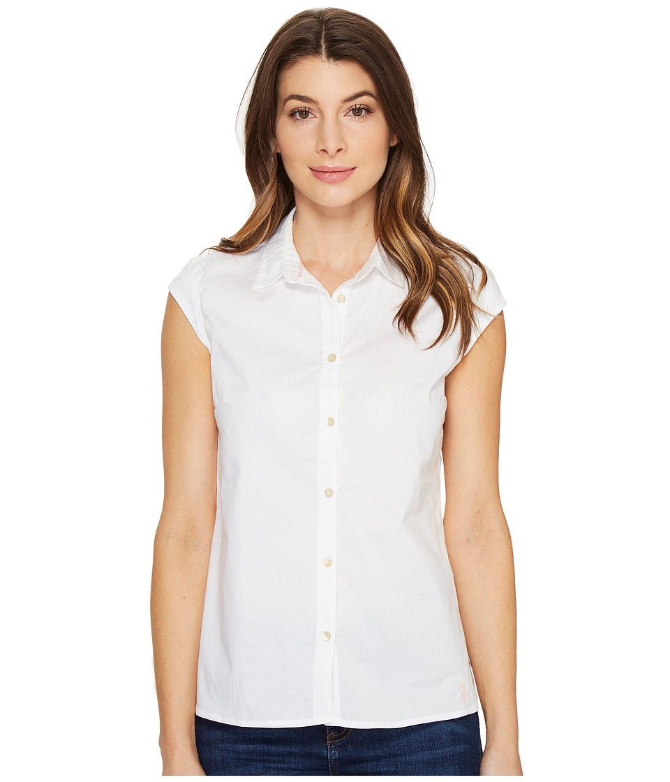 U.S. POLO ASSN. - Cap Sleeve Poplin Blouse (Optic White) Women's Blouse