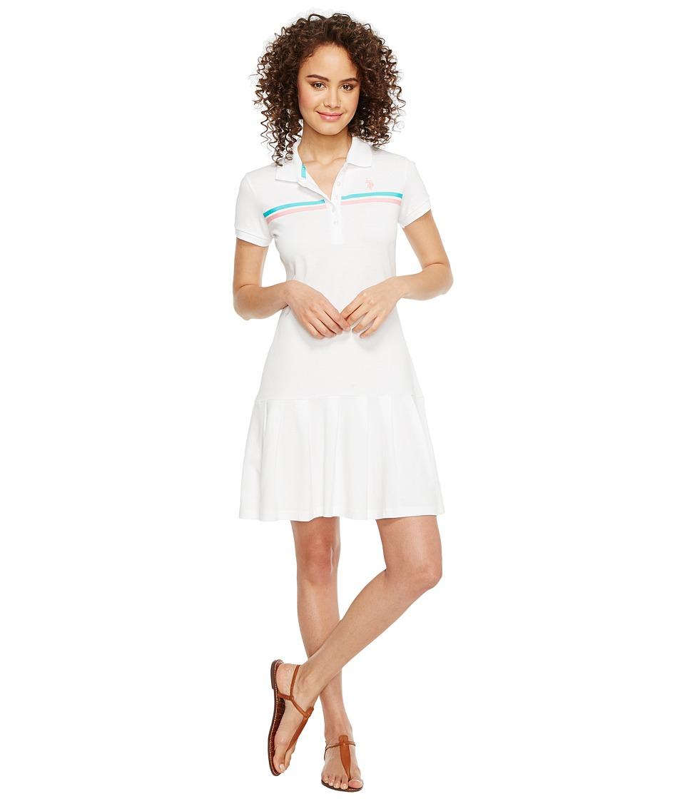 U.S. POLO ASSN. Sporty Pleated Polo Dress (Optic White) Women