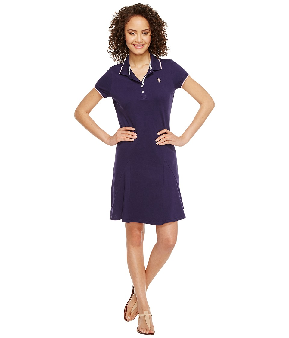 U.S. POLO ASSN. - Pique Polo Dress (Evening Blue) Women's Dress