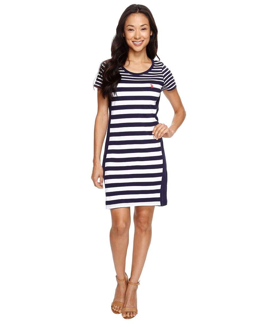 U.S. POLO ASSN. - Short Sleeve Multi-Striped Dress (Evening Blue) Women's Dress