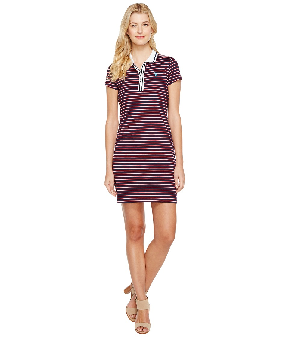 U.S. POLO ASSN. - Striped Jersey Polo Dress (Tribal Navy) Women's Dress