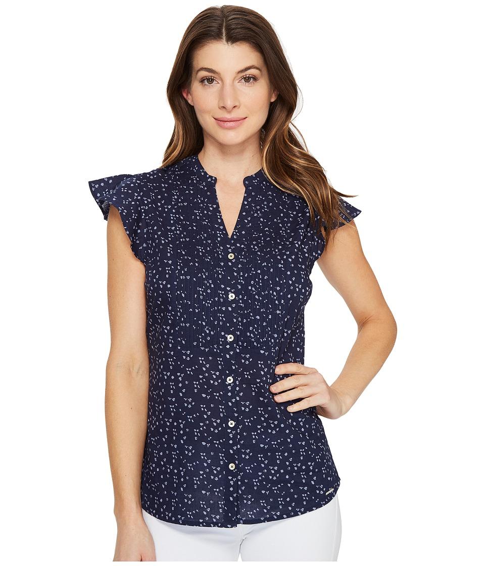 U.S. POLO ASSN. - Floral Pattern Pleated Poplin Blouse (Dress Blues) Women's Blouse