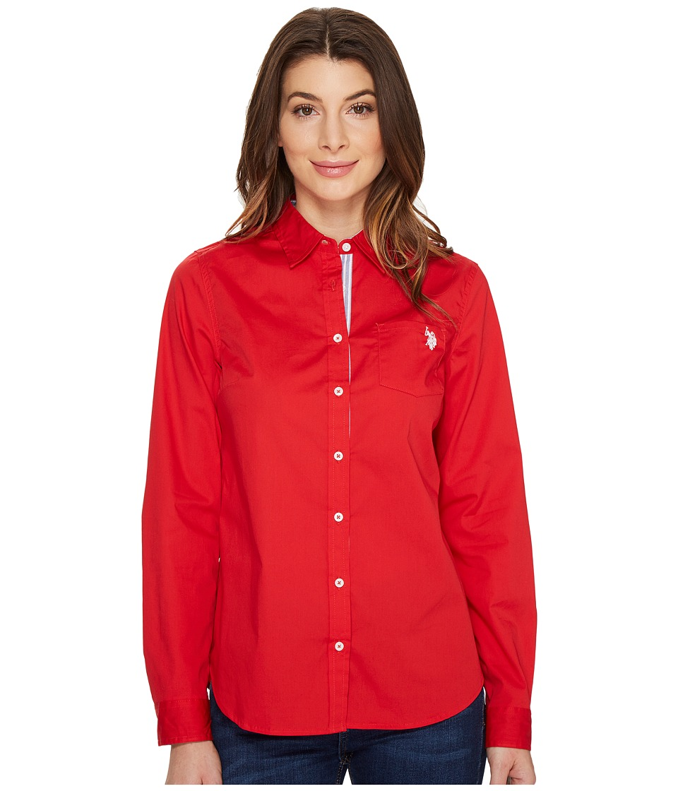 U.S. POLO ASSN. - Stretch Poplin Roll Cuff Shirt (Racing Red) Women's Clothing