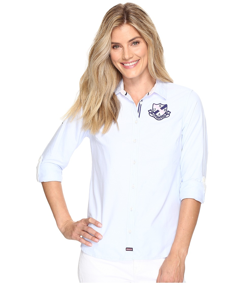 U.S. POLO ASSN. - Embellished Oxford Shirt (Classic Blue) Women's Clothing