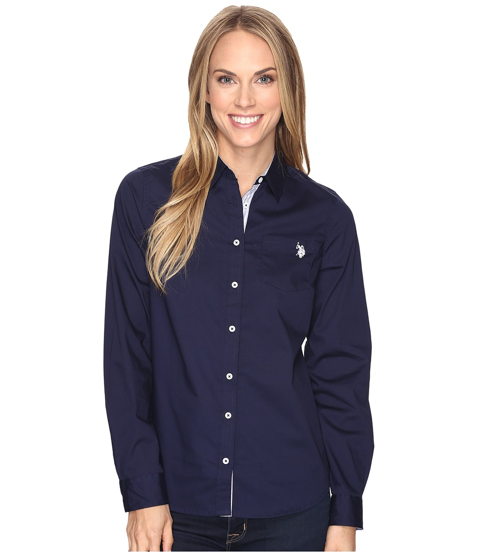 U.S. POLO ASSN. - Stretch Poplin Roll Cuff Shirt (Tribal Navy) Women's Clothing