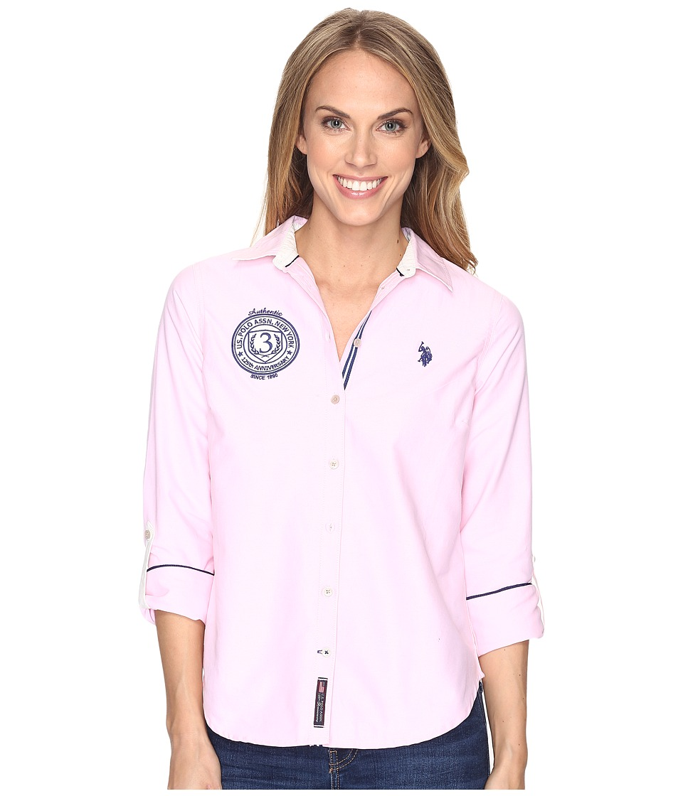 U.S. POLO ASSN. - Solid Oxford Woven Shirt (Classic Pink) Women's Clothing