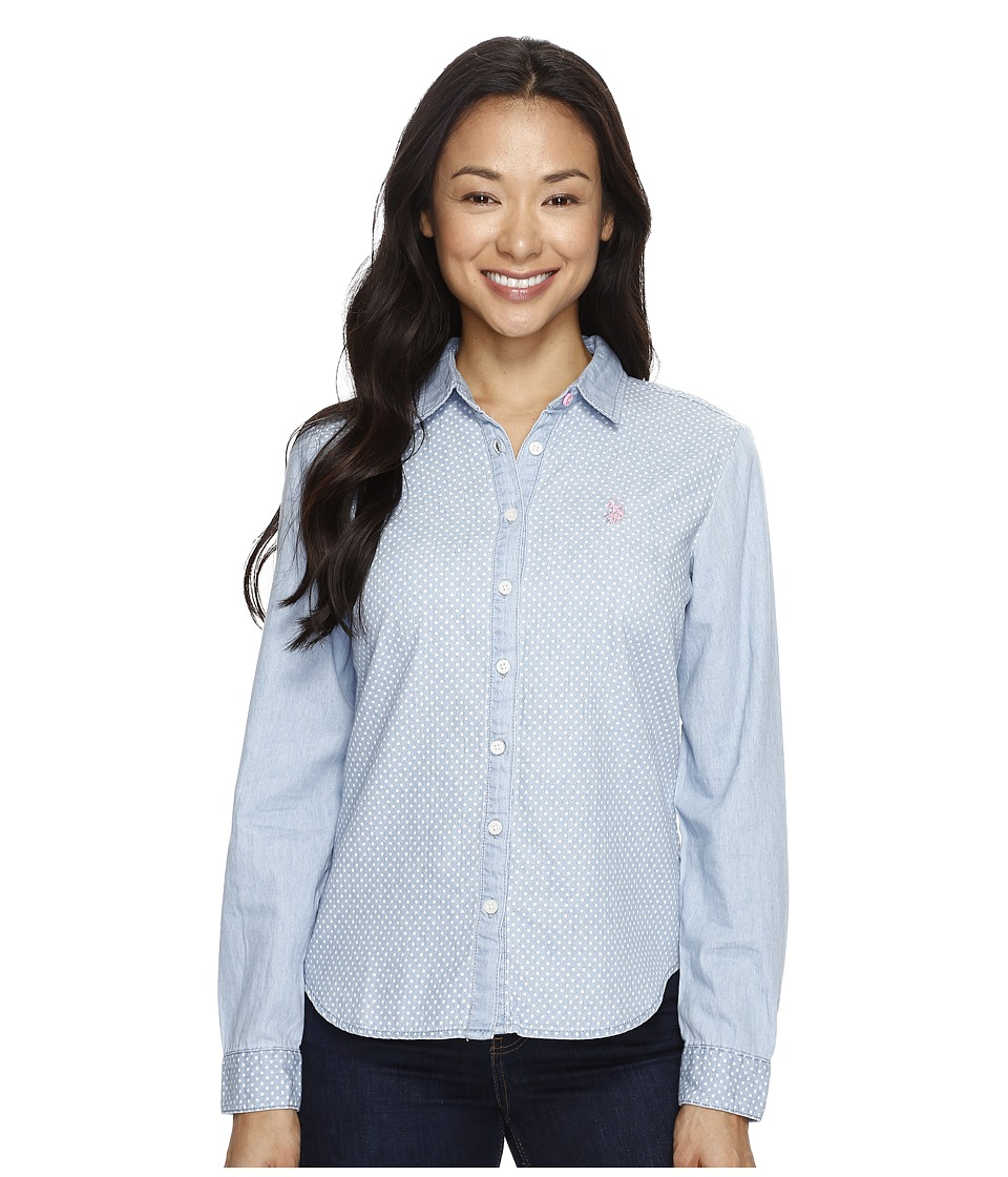 U.S. POLO ASSN. - Denim Shirt (Light Indigo Print Dot) Women's Clothing
