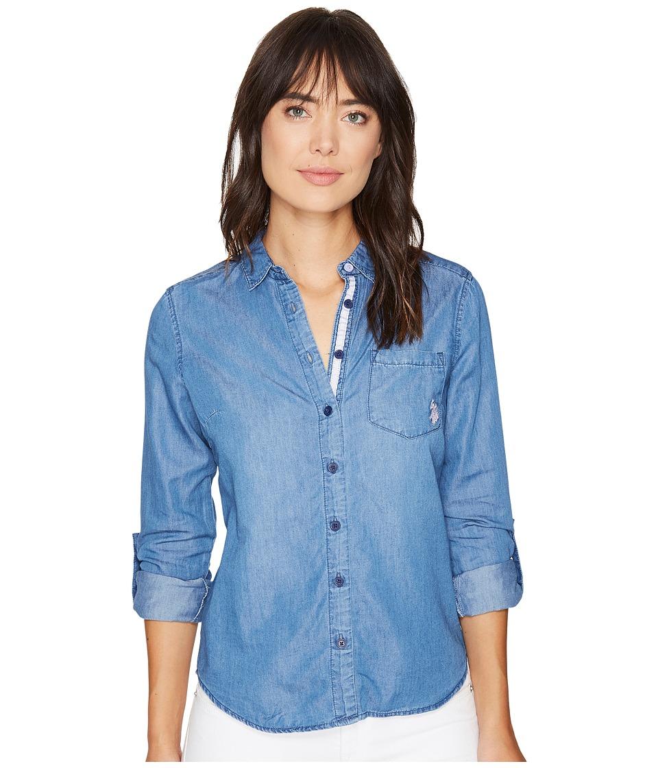 U.S. POLO ASSN. - Color Block Tencel Denim and Twill Shirt (Color Blocked Indigo) Women's Clothing