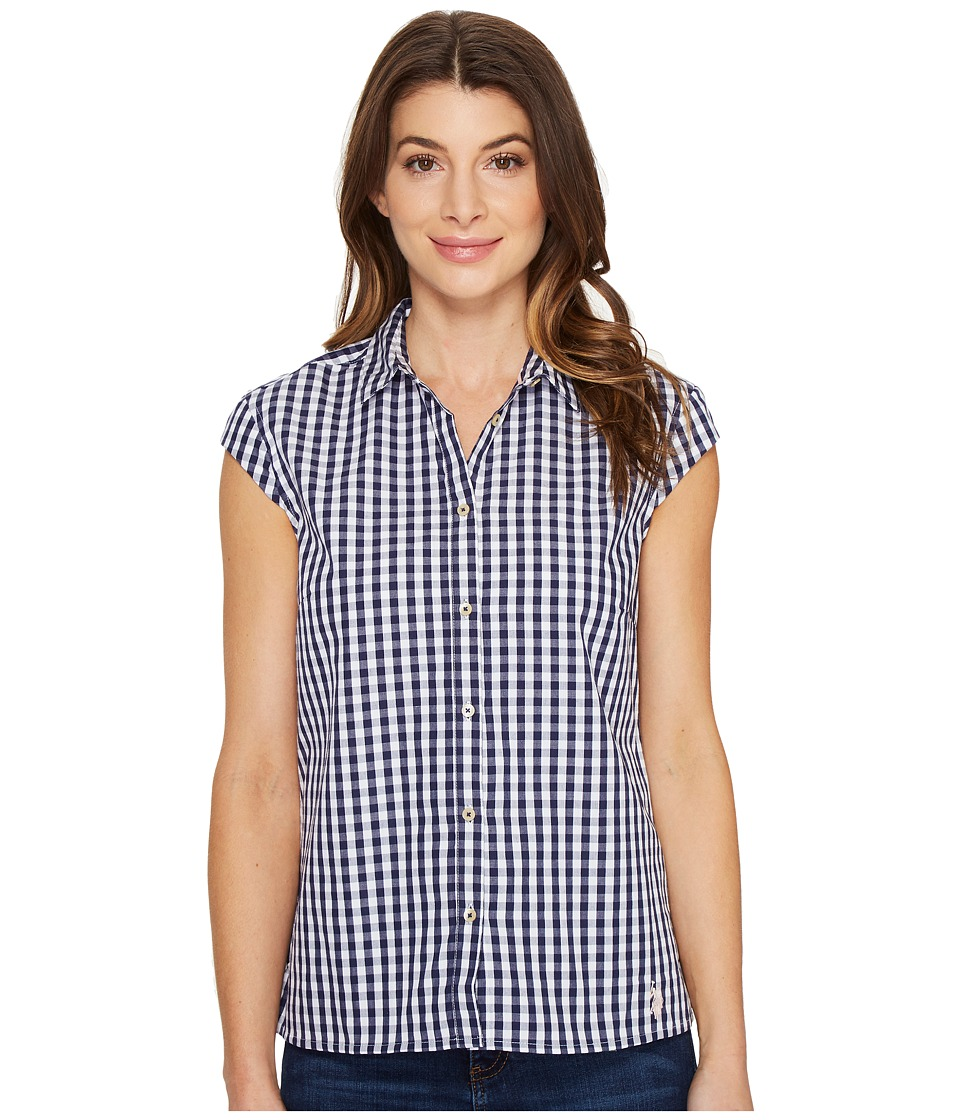 U.S. POLO ASSN. - Classic Short Sleeve Gingham Blouse (Patriot Blue) Women's Blouse
