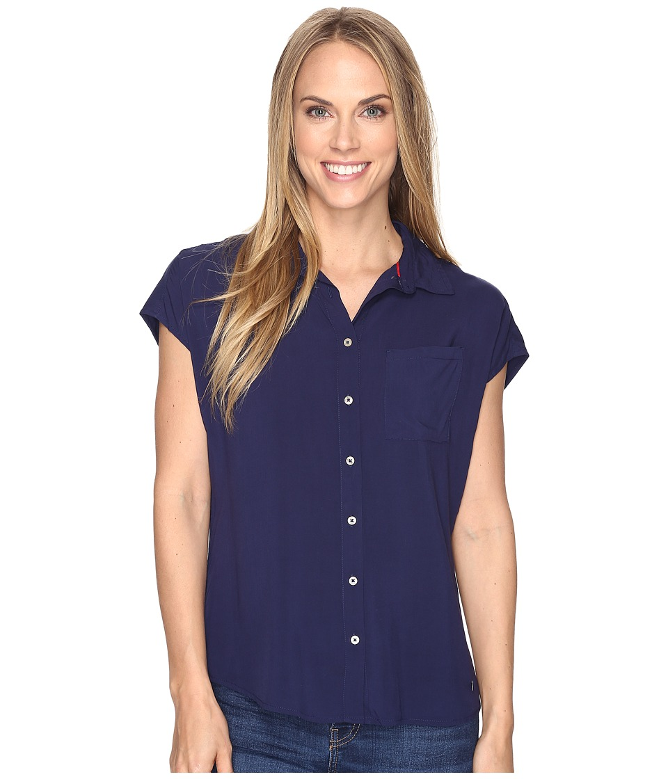 U.S. POLO ASSN. - Short Dolman Sleeve Challis Blouse (Tribal Navy) Women's Blouse