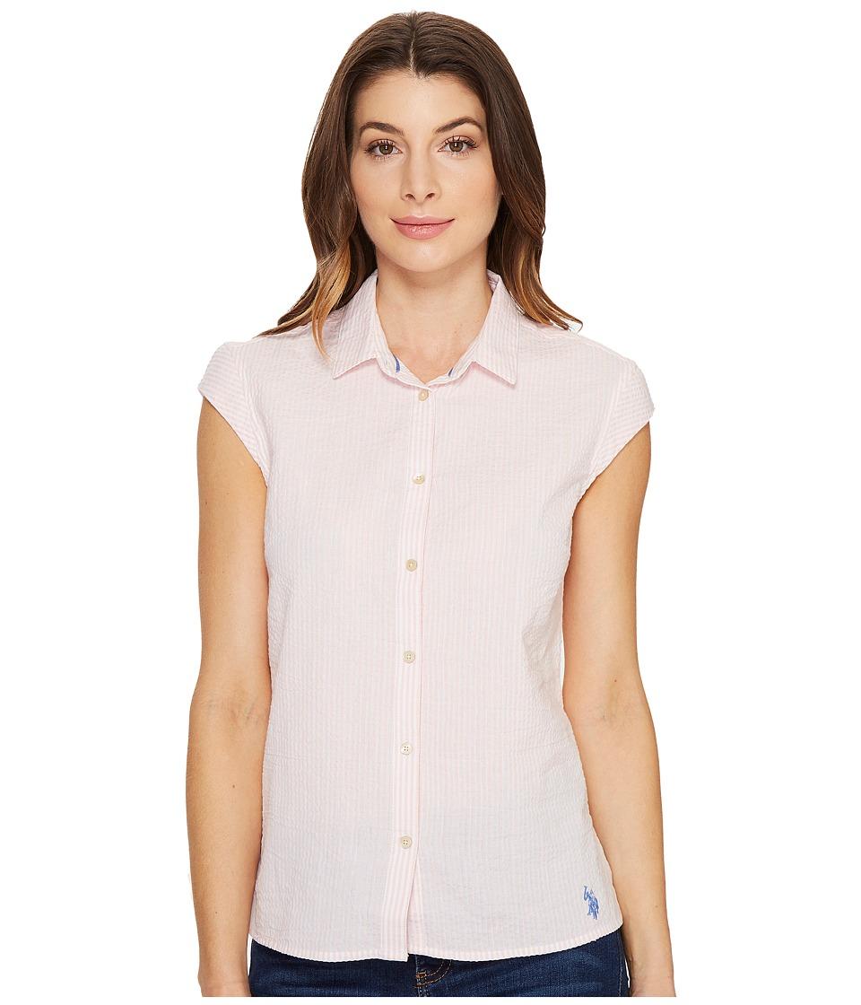 U.S. POLO ASSN. - Short Sleeve Seersucker Blouse (Strawberry Cream Pink) Women's Blouse