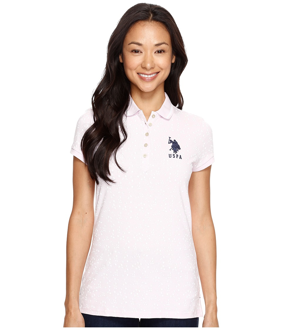 U.S. POLO ASSN. - All Over Print Stretch Pique Polo Shirt (Lilac Snow) Women's Clothing