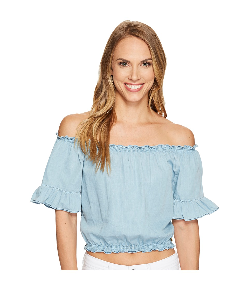 U.S. POLO ASSN. - Denim Off the Shoulder Crop Top (Light Indigo Wash) Women's Clothing