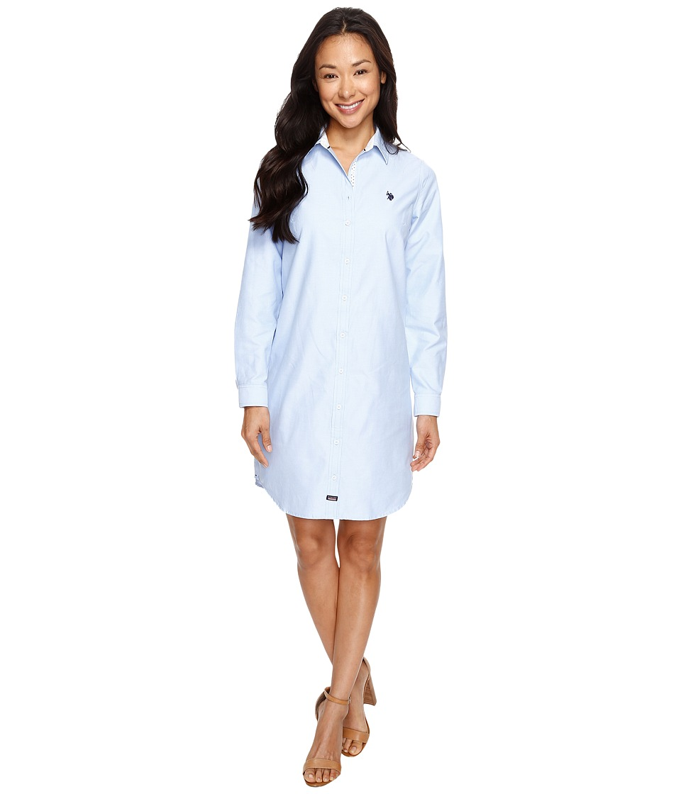 U.S. POLO ASSN. - Oxford Shirtdress (Classic Blue) Women's Dress