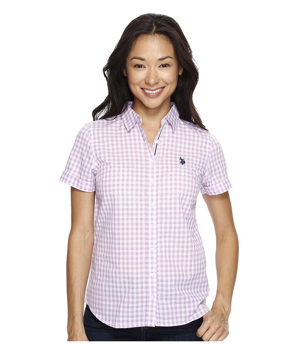 U.S. POLO ASSN. - Short Sleeve Woven Shirt (Wood Violet) Women's Clothing