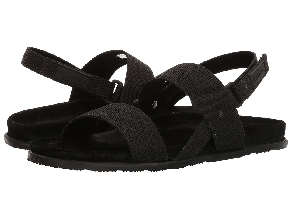 Hunter - Double Strap Webbing Sandal (Black) Men's Sandals