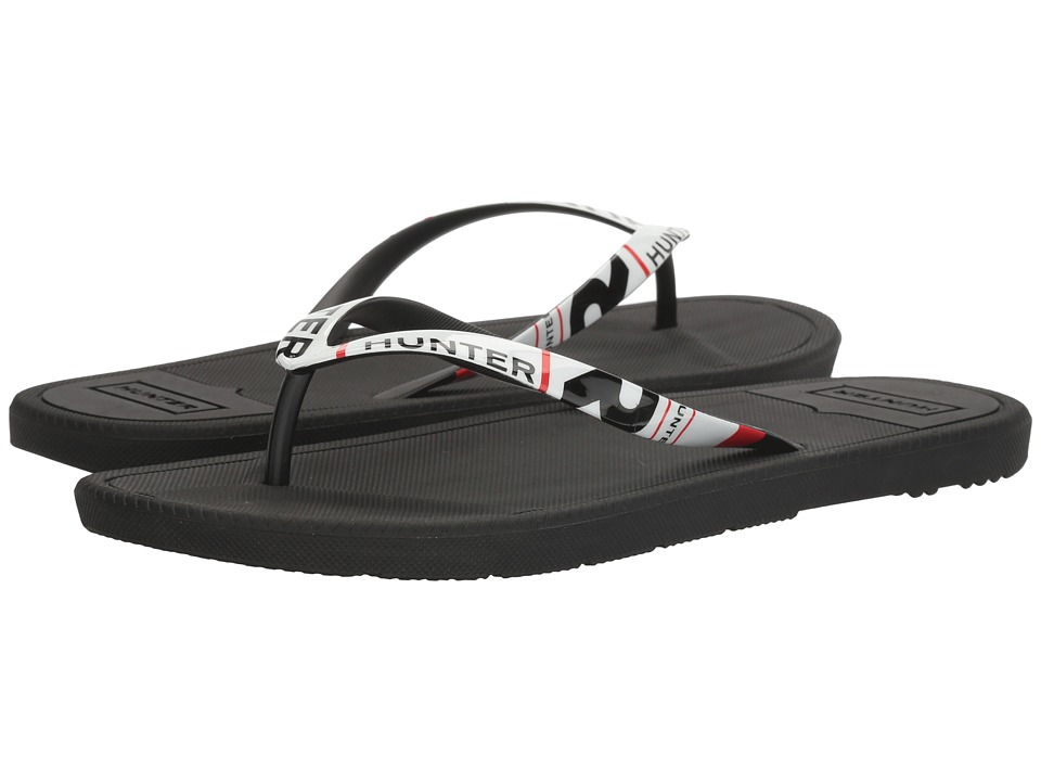 Hunter - Original Exploded Logo Flip-Flop (Black) Men's Shoes