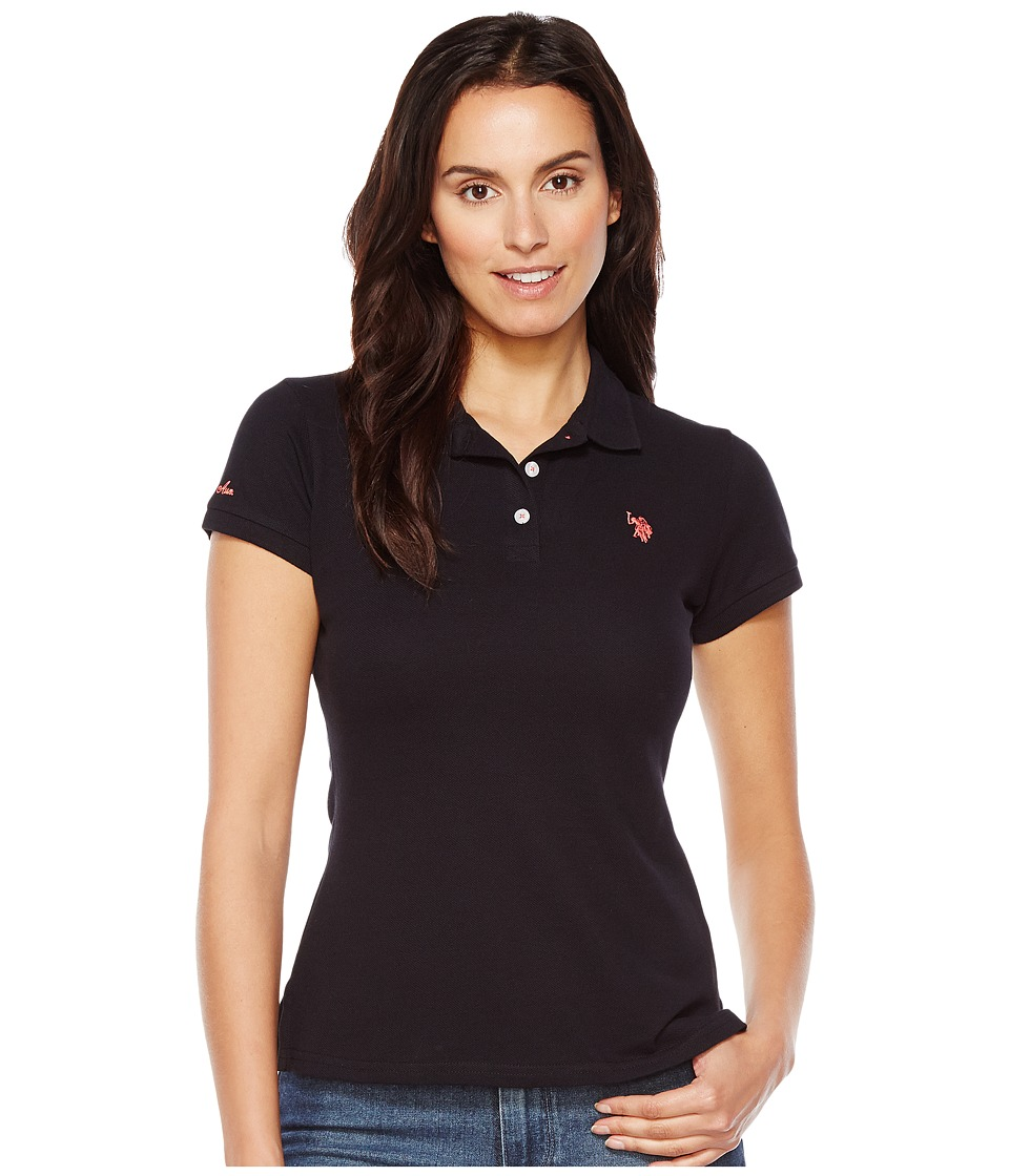 U.S. POLO ASSN. - Neon Logo Polo Shirt (Anthracite) Women's Clothing