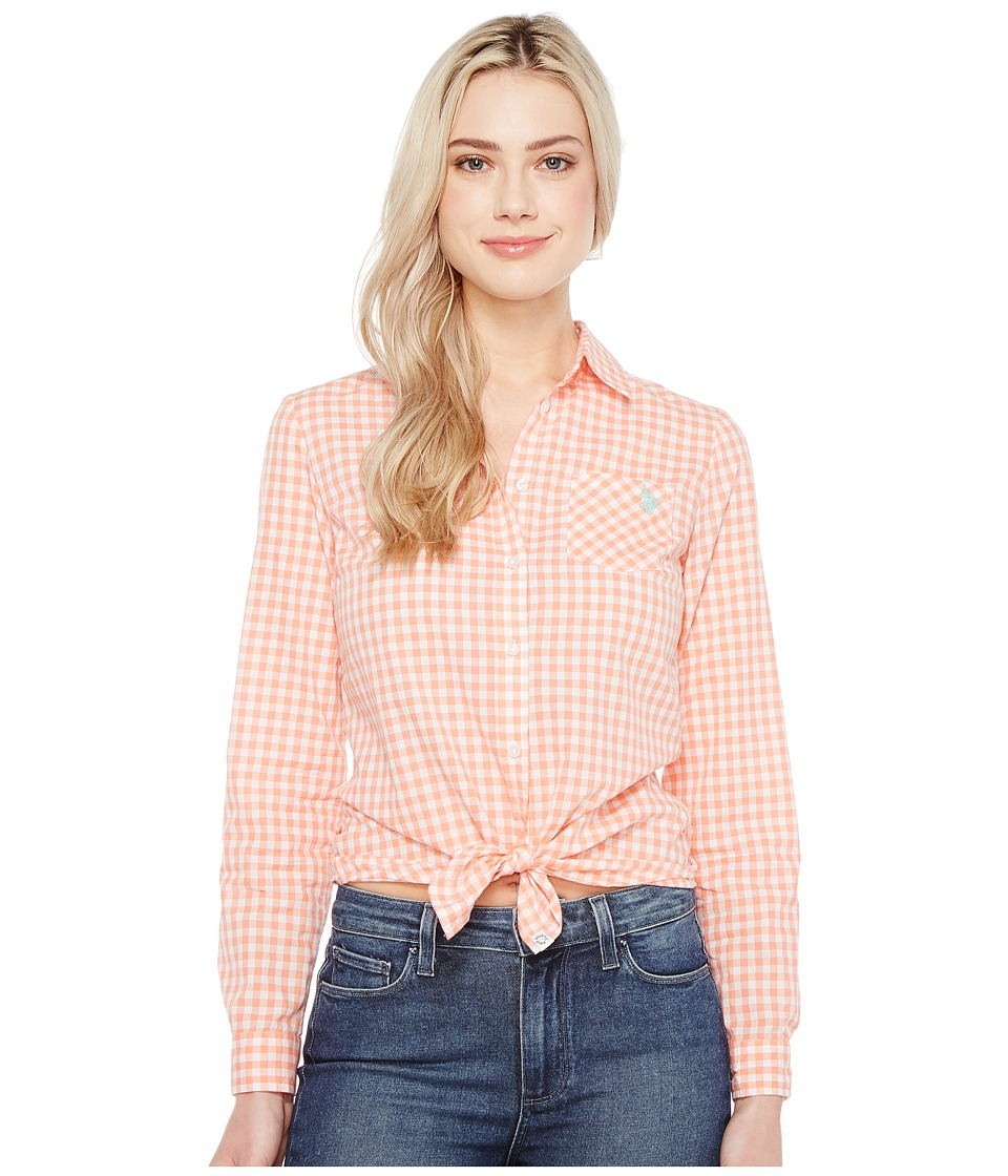 U.S. POLO ASSN. - Long Sleeve Gingham Woven Shirt (Beach Blush) Women's Clothing