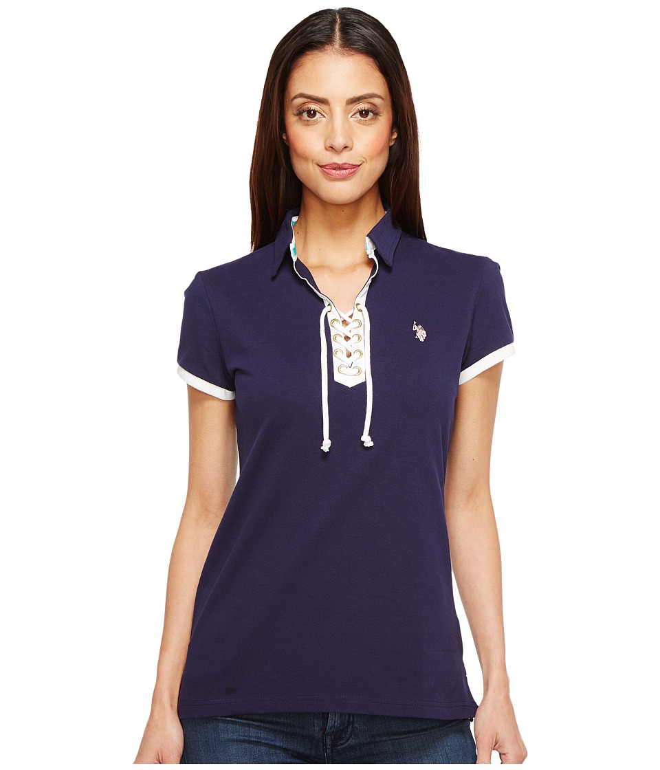 U.S. POLO ASSN. - Lace-Up Pique Polo Shirt (Tribal Navy) Women's Clothing
