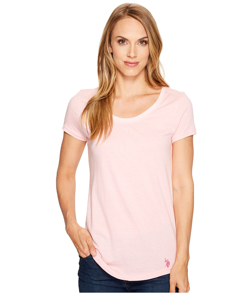 U.S. POLO ASSN. - Soft Heather Scoop Neck T-Shirt (Pink Daisy) Women's T Shirt
