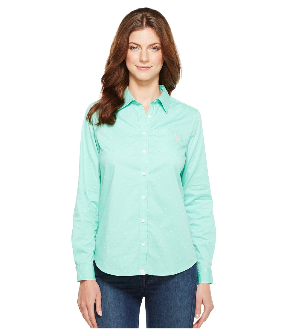 U.S. POLO ASSN. - Stretch Poplin Dot Print Woven Shirt (Palawan Aqua) Women's Clothing