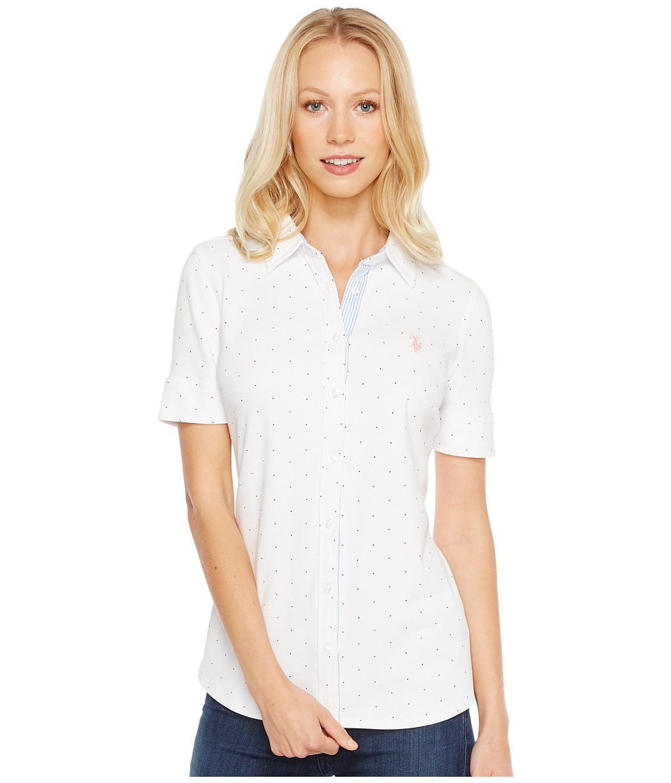 U.S. POLO ASSN. - Knit Printed Pique and Seersucker Shirt (Optic White) Women's Clothing