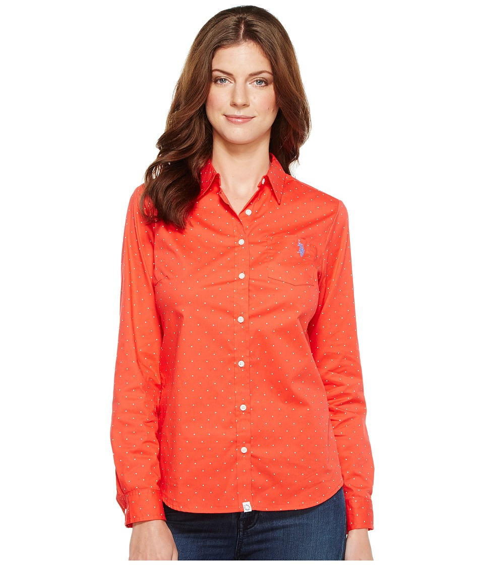 U.S. POLO ASSN. - Stretch Poplin Dot Print Woven Shirt (Hibiscus) Women's Clothing