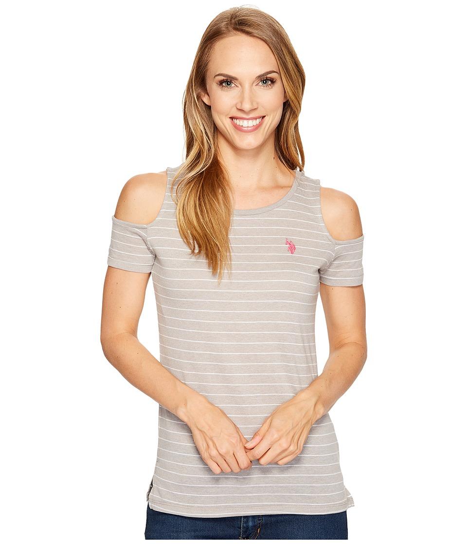 U.S. POLO ASSN. - Striped Open Shoulder T-Shirt (Heather Grey) Women's T Shirt