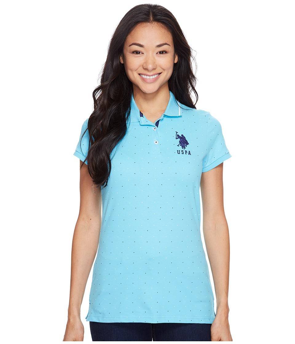 U.S. POLO ASSN. Dot Print Pique Polo Shirt (Bachelor Button) Women