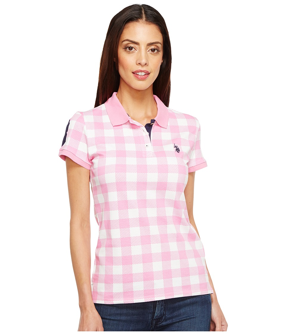 U.S. POLO ASSN. - Print Pique Polo Shirt (Pink Rocket) Women's Clothing