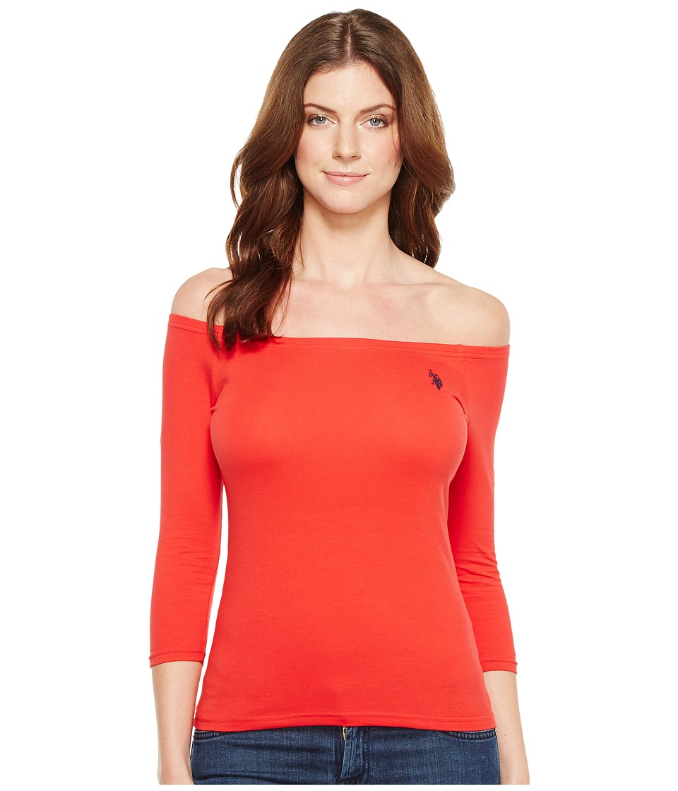 U.S. POLO ASSN. - Off Shoulder Tee (Racing Red) Women's T Shirt