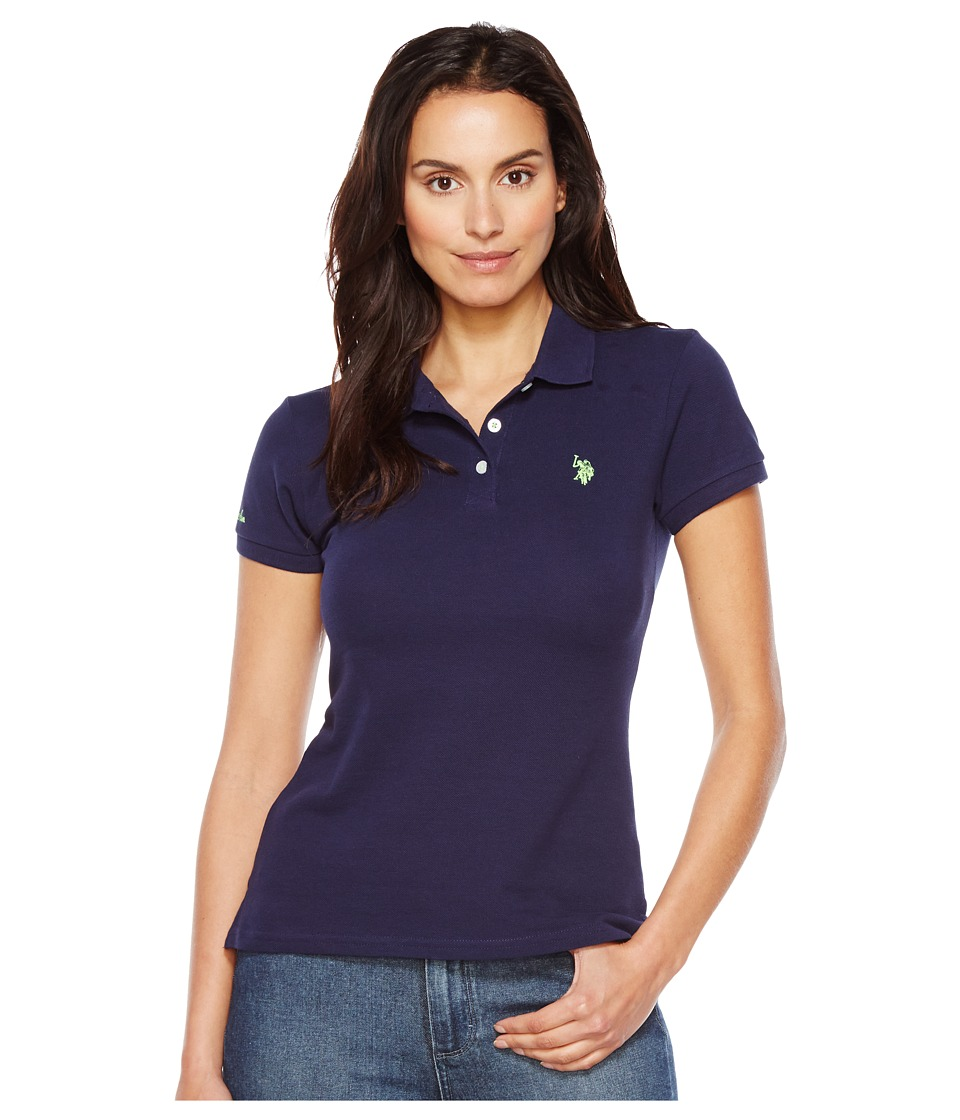 U.S. POLO ASSN. - Neon Logo Polo Shirt (Tribal Navy) Women's Clothing